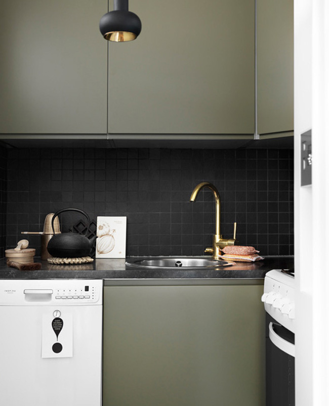 test deco cuisine vert kaki blanc meuble