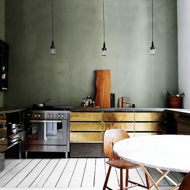 deco cuisine vert kaki blanc mur