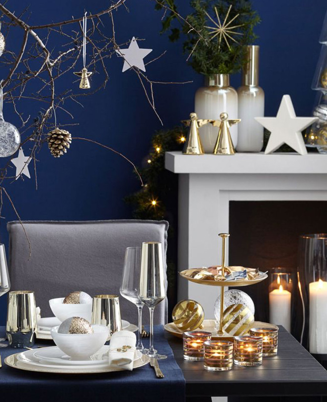 deco noel bleu blanc table