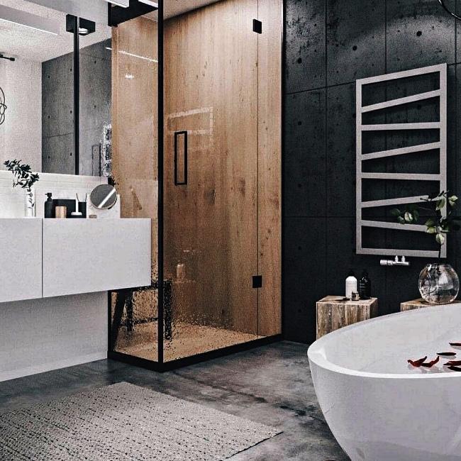 deco salle de bain industrielle mur béton noir