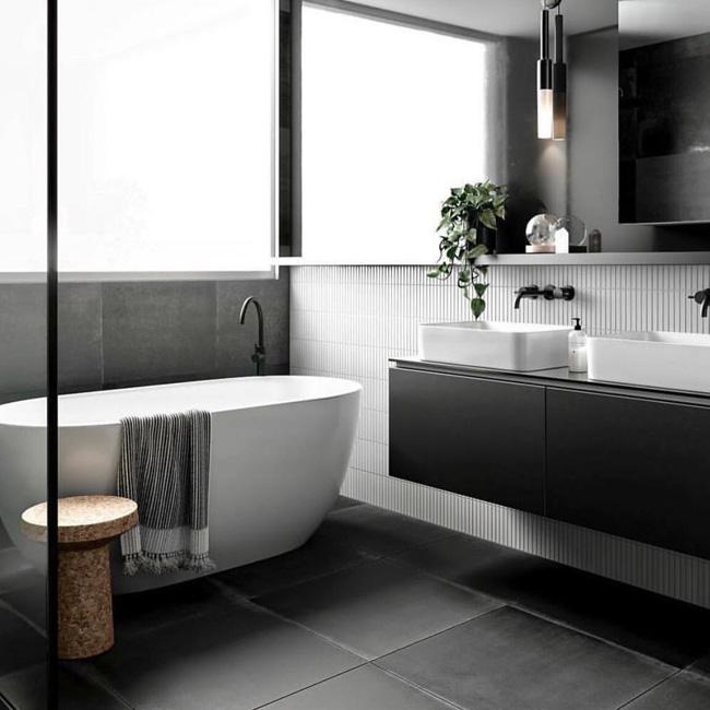 deco salle de bain minimaliste blanc gris noir