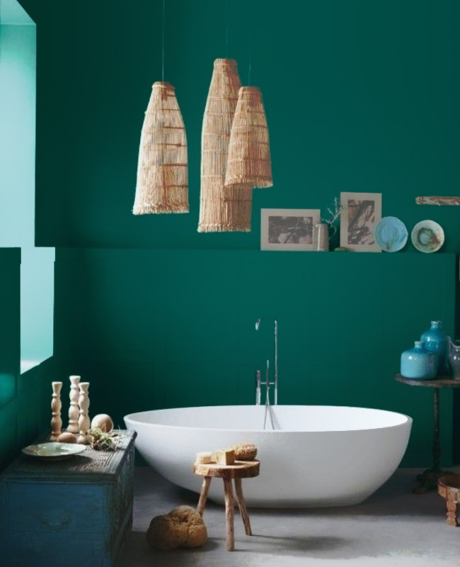 deco salle de bain vert blanc canard voyage