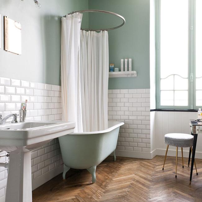 deco salle de bain vert blanc menthe métro