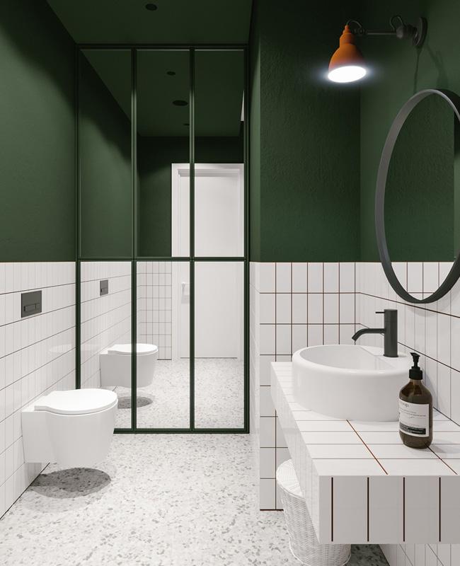 deco salle de bain vert blanc moderne