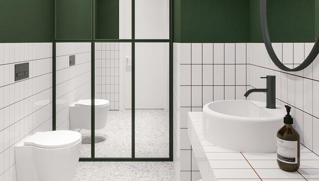 deco salle de bain vert blanc