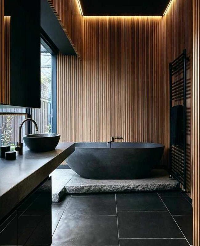 deco salle de bain zen moderne pierre noire