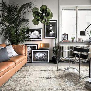 deco salon moderne gris vert