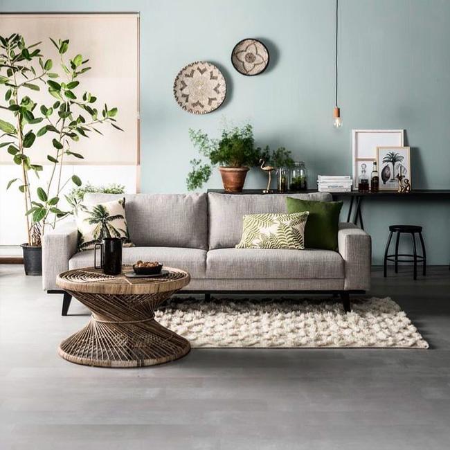 deco salon moderne gris vert bohème