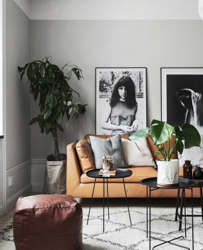 deco salon moderne gris vert canapé cuir