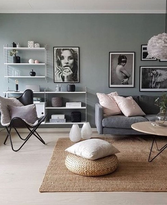 deco salon moderne gris vert rose