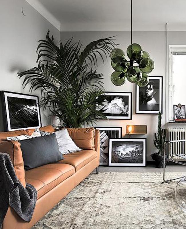 deco salon moderne gris vert suspension
