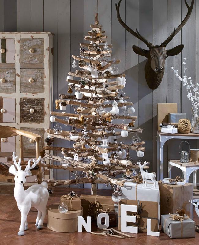 deco sapin noel bois blanc branche