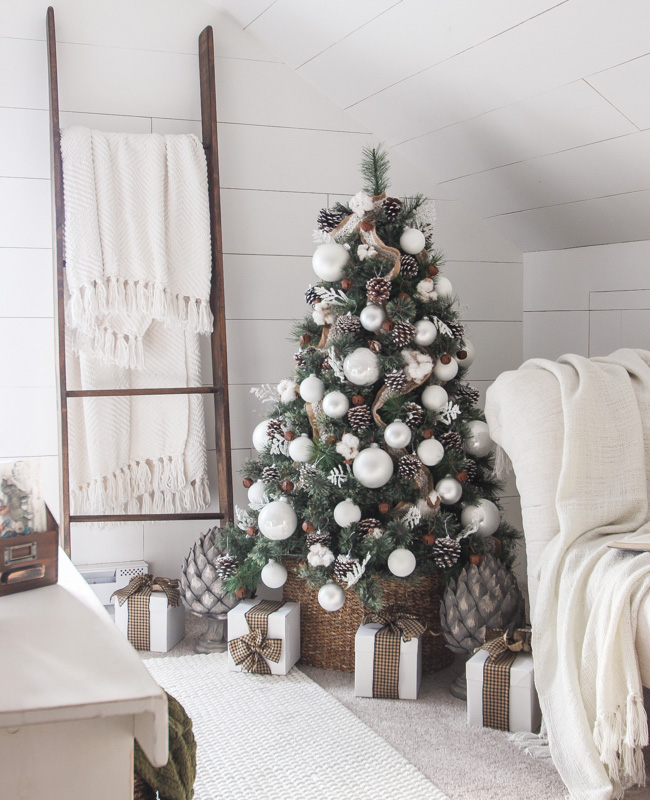 deco sapin noel bois blanc campagne