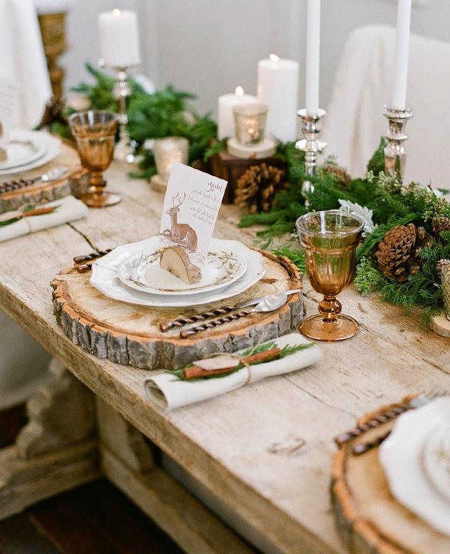 deco table noel blanc or bois