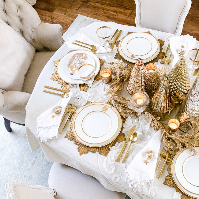 deco table noel blanc or chic