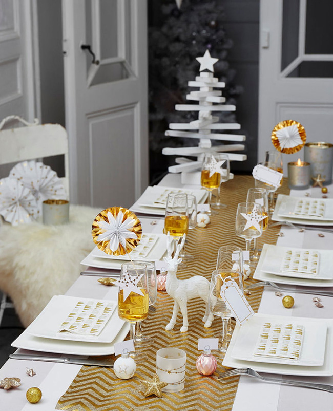 deco table noel blanc or épurée