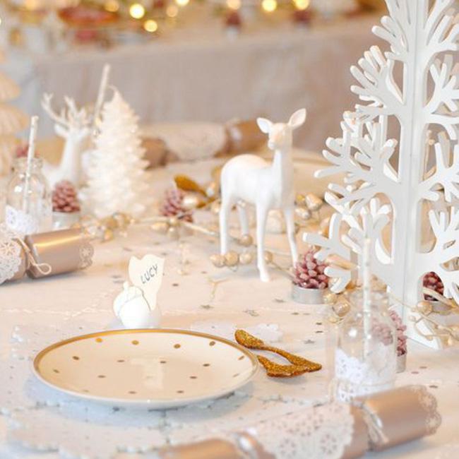 deco table noel blanc or féérique