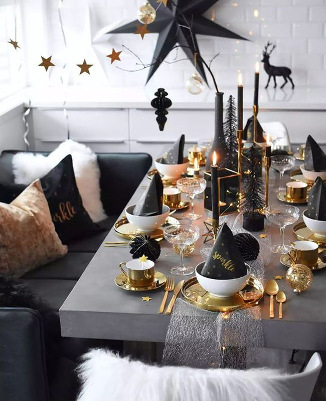 deco table noel blanc or noir
