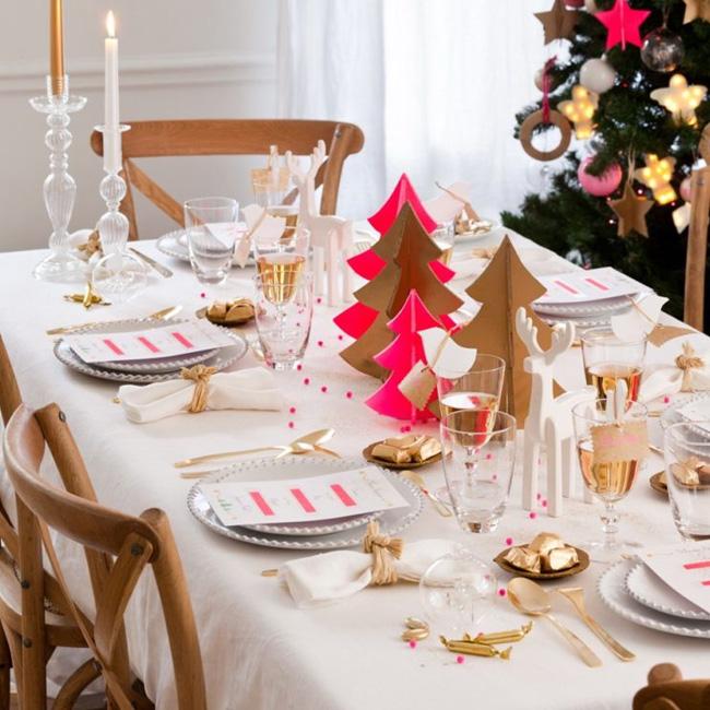 deco table noel blanc or rose flou