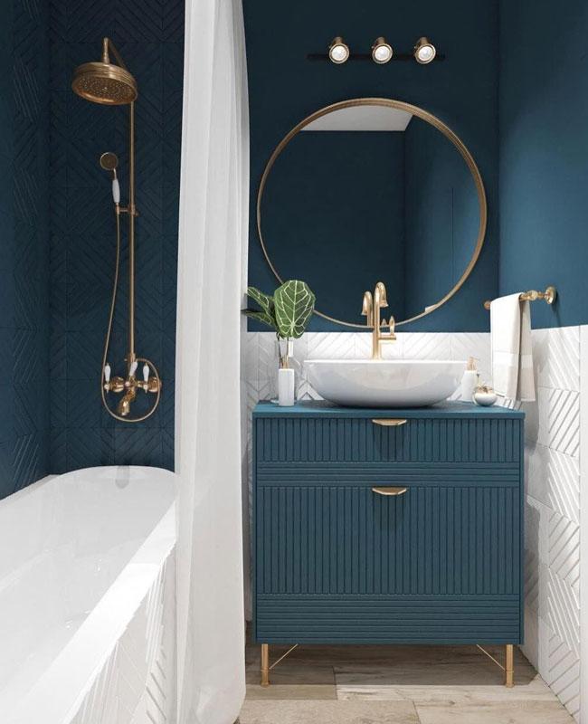 deco bleu canard blanc salle de bain
