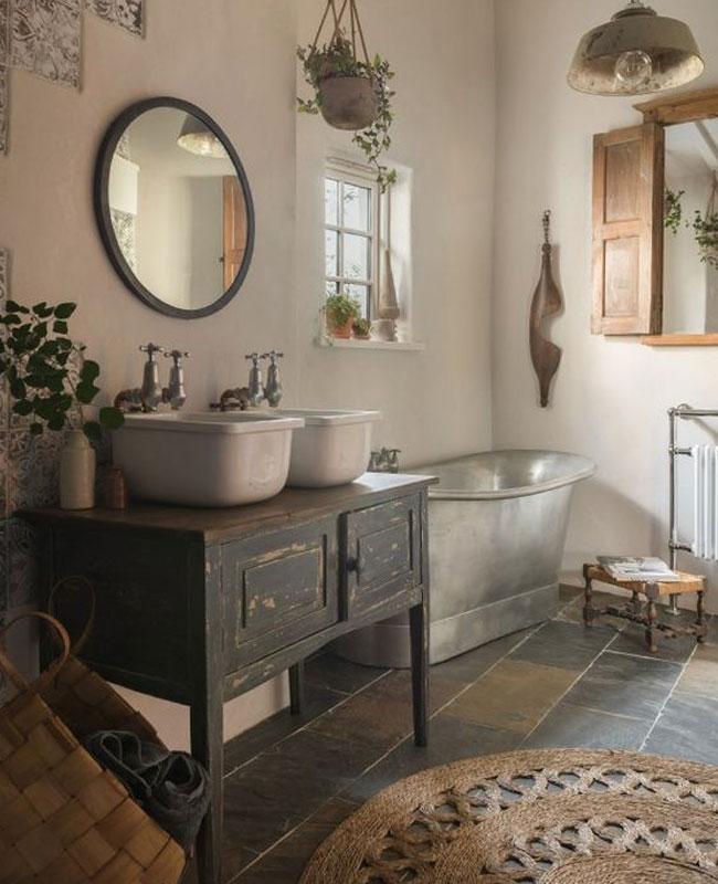 deco campagne gris salle de bain