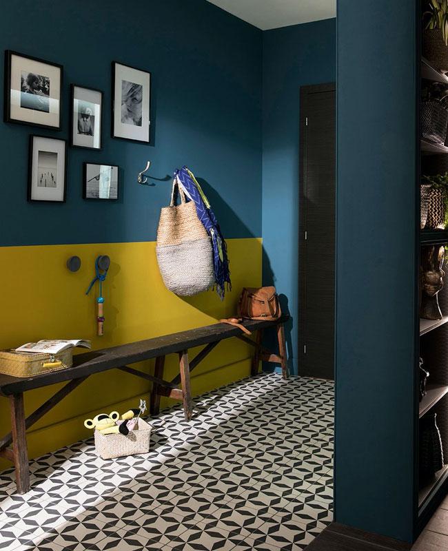 deco couloir jaune bleu canard