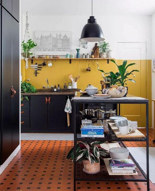 deco cuisine jaune moutarde noir