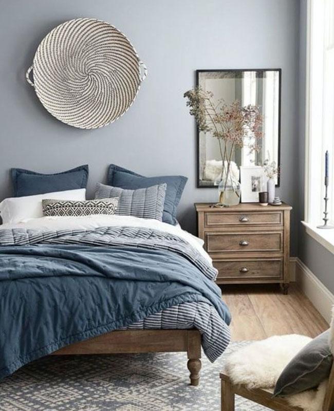 deco gris bleu chambre cosy
