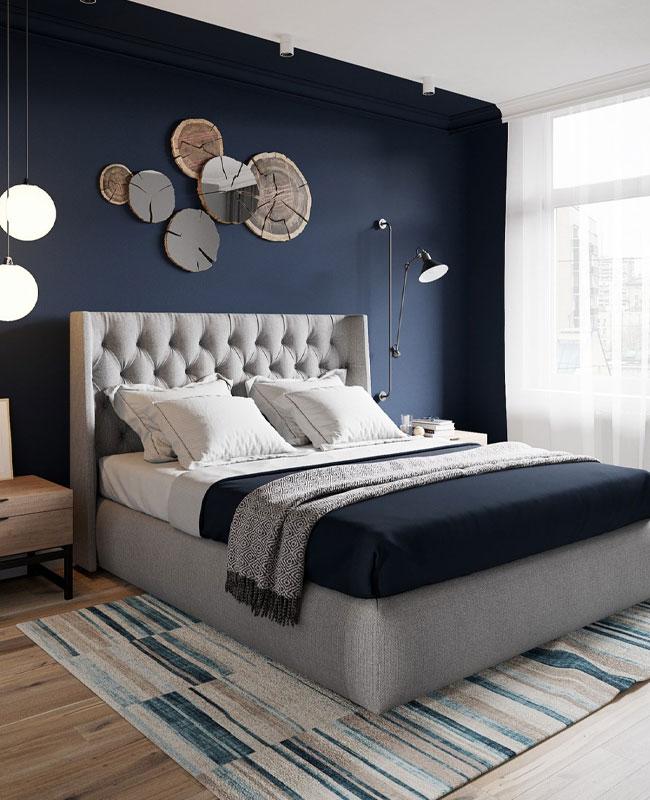 deco gris bleu chambre chic