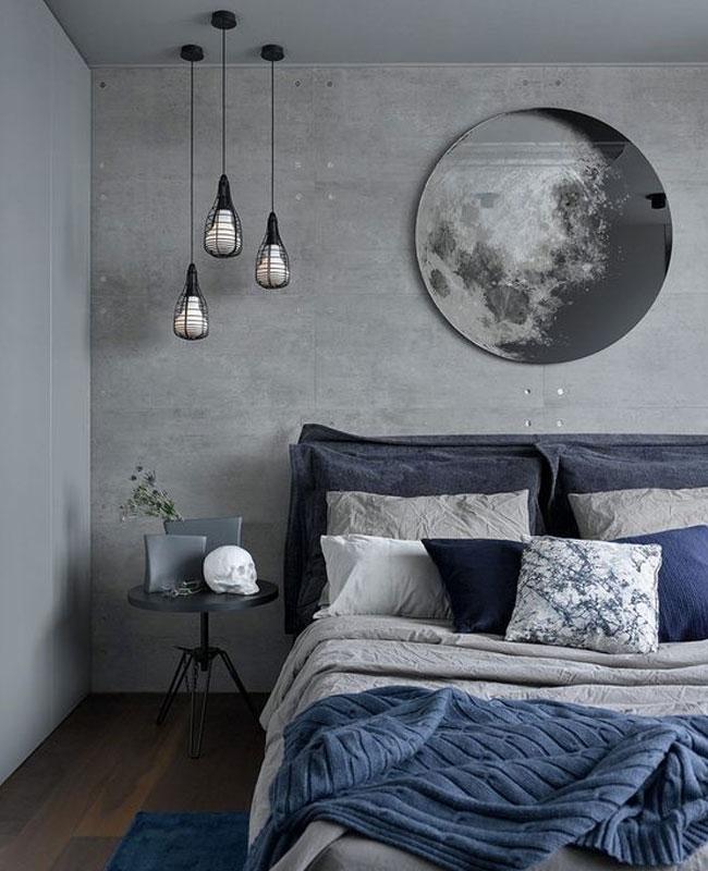 deco gris bleu chambre moderne