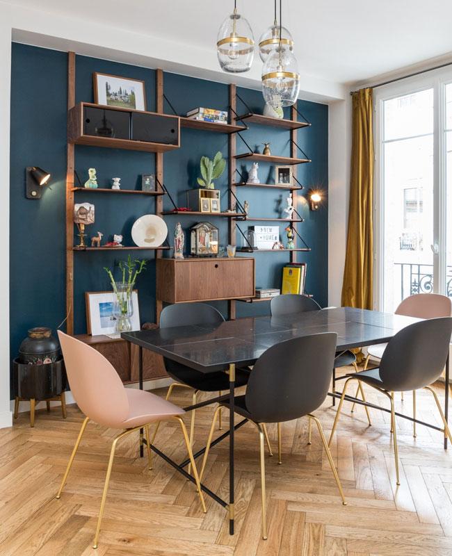 deco salle a manger bleu canard vintage