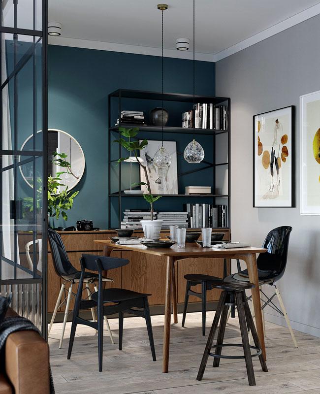 deco salle a manger bleu canard bois métal noir