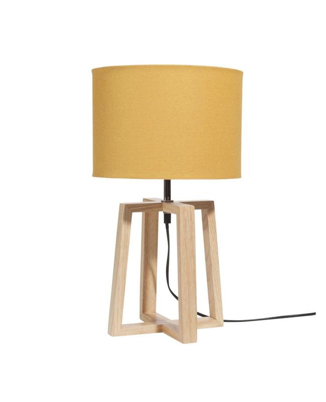 lampe bois jaune moutarde