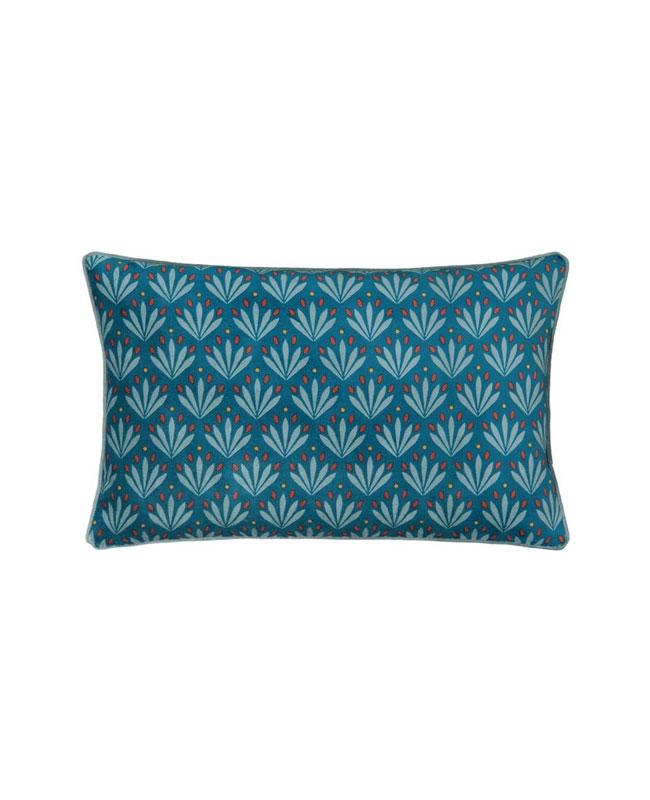 coussin bleu canard a motifs