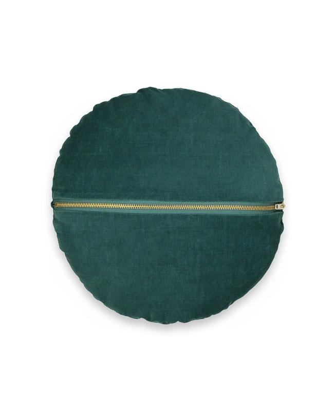 coussin velours vert canard