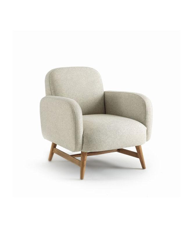 fauteuil bois beige