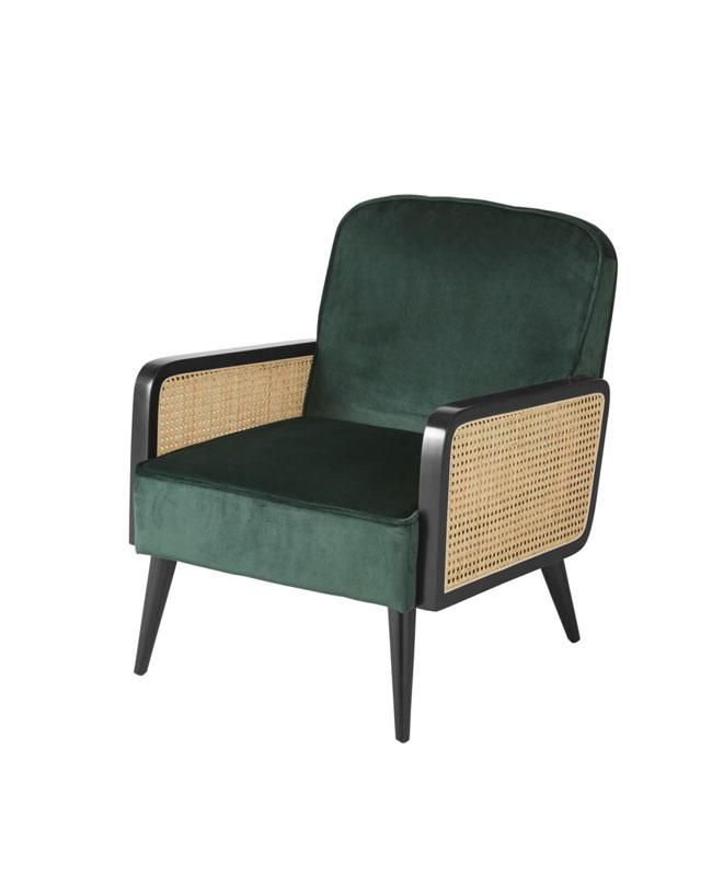fauteuil cannage velours vert canard