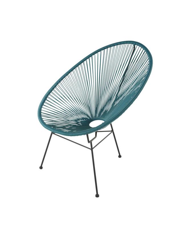 fauteuil fil bleu canard