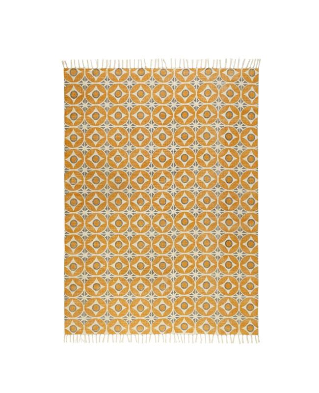 tapis motifs jaune moutarde