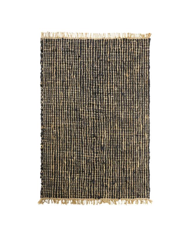 tapis noir jute tresse industriel