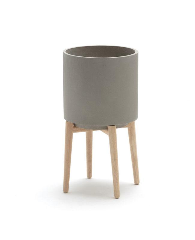 cache pot beton bois gris