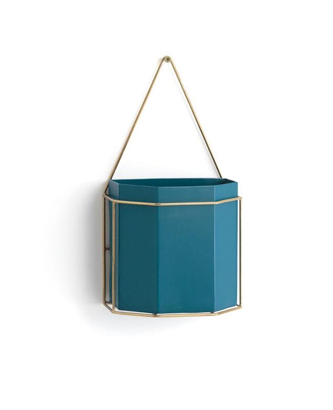 cache pot mural bleu canard