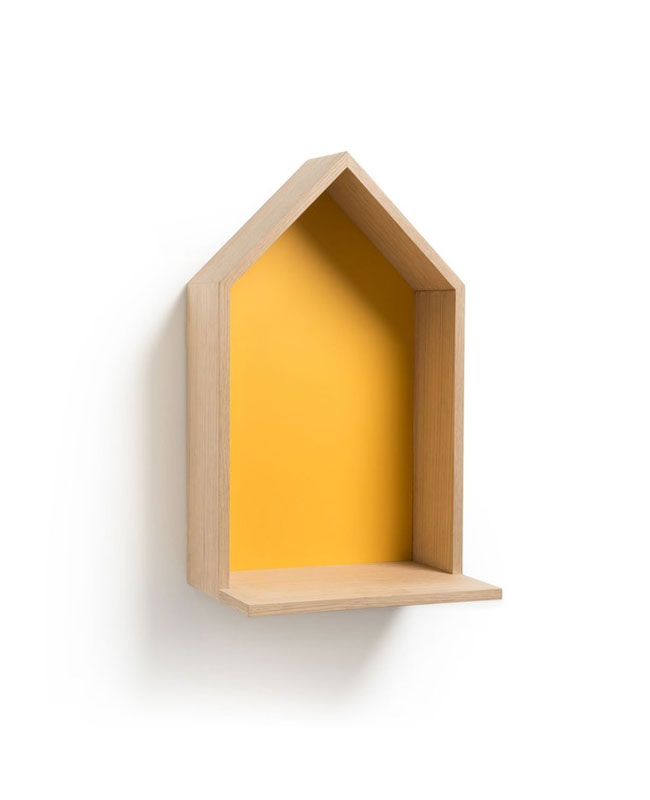 etagere murale maison jaune moutarde
