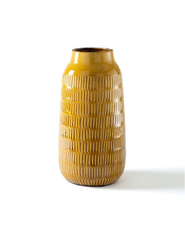 vase céramique jaune moutarde