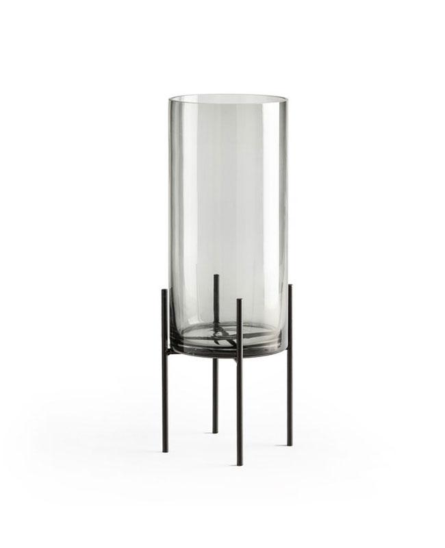 vase pied verre fume moderne