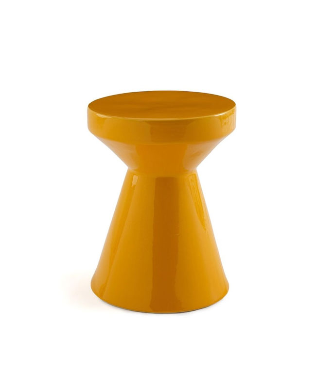 table appoint céramique jaune moutarde