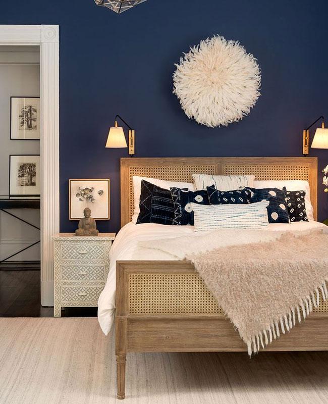 deco bleu canard beige chambre cannage