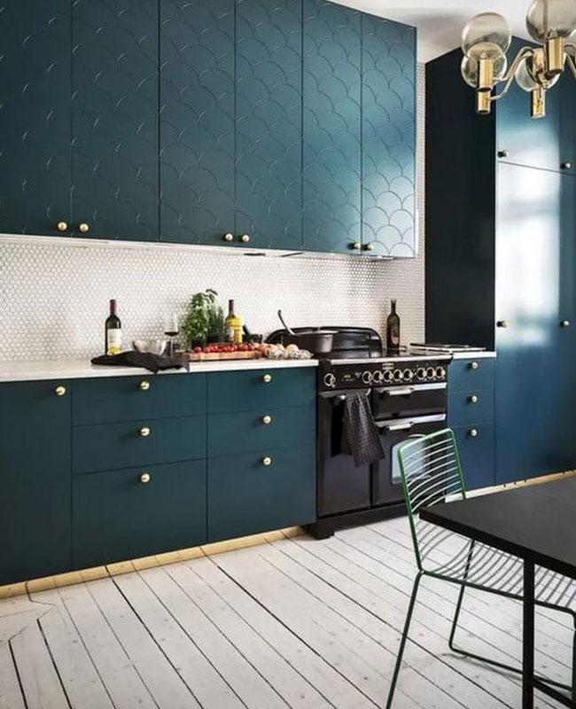 deco bleu canard beige cuisine
