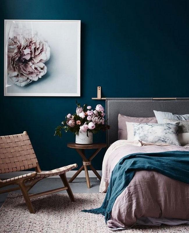 deco bleu canard gris chambre