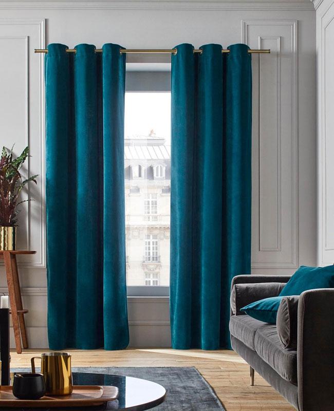 deco bleu canard gris rideaux velours